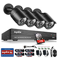 SANNCE® 8CH CCTV Security System Onvif 1080P AHD/TVI/CVI/CVBS/IP 5-in-1 DVR with 4*2.0MP Cameras with 1TB HDD