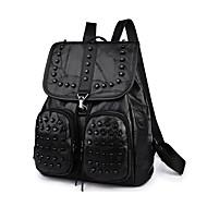 お買い得  バックパック-女性用 バッグ PU バックパック ビーズ ジッパー のために カジュアル アウトドア オールシーズン ブラック