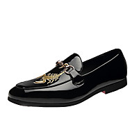 Men's Shoes Patent Leather Winter Fall Comfort Loafers & Slip-Ons Sparkling Glitter For Casual Party & Evening Black
