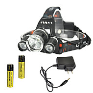 cheap Flashlights & Camping Lanterns-RJ-3000 Headlamps Chargers Headlight LED 4000 lm 4 Mode Cree XM-L T6 Rechargeable Strike Bezel for Camping/Hiking/Caving Traveling Black