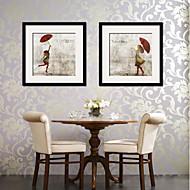 billige Innrammet kunst-Vintage folk Innrammet Lerret Innrammet Sett Veggkunst,PVC Materiale med ramme For Hjem Dekor Rammekunst Stue Kjøkken Spisestue Soverom