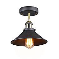 sølvgrå industrielt taklampe semi flush vintage metall 1-lys anheng belysning skygge lysekrone diameter 26cm