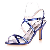 cheap Women's Sandals-Women's Patent Leather Spring / Summer Basic Pump Sandals Stiletto Heel Open Toe Gold / Silver / Blue / Party & Evening / Party & Evening