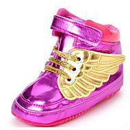 Bebê sapatos Couro Ecológico Inverno Outono Primeiros Passos Conforto Rasos Para Casual Dourado Branco Preto Fúcsia