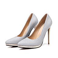 baratos -Feminino Sapatos Glitter Inverno Inovador Conforto Saltos Dedo Apontado Para Casamento Festas & Noite Dourado Prata Roxo