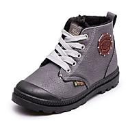 Недорогие -Мальчики обувь Полиуретан Осень Зима Удобная обувь Армейские ботинки Ботинки Назначение Повседневные Черный Серый Красный