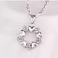 Mulheres Flor Coração Diamante sintético Colares com Pendentes  -  Clássico Doce Prata Colar Para Diário