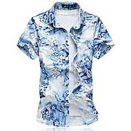 男性用 プラスサイズ シャツ, アジアン・エスニック フラワー コットン