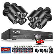 SANNCE® 8CH CCTV Security System 1080P AHD/TVI/CVI/CVBS/IP 5-in-1 DVR with 8pcs 2.0MP Night Vision Weatherproof Cameras 1TB HDD
