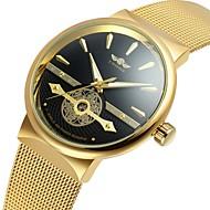 baratos -WINNER Homens Automático - da corda automáticamente Relógio de Pulso Gravação Oca Aço Inoxidável Banda Vintage Casual Relógio Elegante