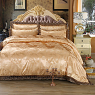 cheap High Quality Duvet Covers-Duvet Cover Sets Luxury 4 Piece Faux Silk Jacquard Faux Silk 4pcs (1 Duvet Cover, 1 Flat Sheet, 2 Shams)