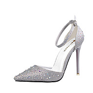 Women's Shoes Leatherette Spring Summer Novelty Heels Stiletto Heel Pointed Toe Rhinestone For Party & Evening Dress Blushing Pink