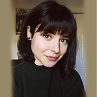 女性 人間の毛のキャップレスウィッグ ブラック ミディアムオーバーン ベージュブロンド//ブリーチブロンド ミディアム丈 ストレート