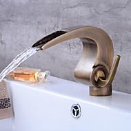 cheap Bathroom Sink Faucets-Art Deco/Retro Centerset Waterfall Ceramic Valve Single Handle One Hole Antique Copper , Bathroom Sink Faucet