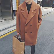 男性用 ロング オーバーコート - ストリートファッション ソリッド, ウール