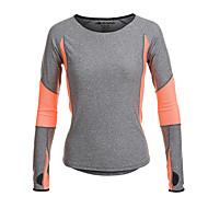 Jaggad Dame Løbe-T-shirt - Grå Sport T-Shirt / Toppe Langærmet Sportstøj Hurtigtørrende, Fugtpermeabilitet, Åndbart Elastisk