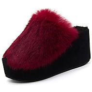 Feminino Sapatos Couro Ecológico Inverno Conforto Chinelos e flip-flops Dedo Aberto Para Casual Preto Cinzento Vinho
