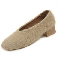 Feminino Sapatos Couro Ecológico Inverno Conforto Mocassins e Slip-Ons Salto Baixo Ponta Redonda Para Casual Preto Amêndoa