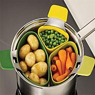 3pcs / set корзина для пара висячий тип силиконовый пластиковый пароварка для микроволновой печи кухонная посуда
