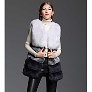 Women's Going out Casual/Daily Simple Fall Winter Fur Coat,Color Block V Neck Sleeveless Regular Polyester Fox Fur