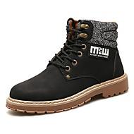 Masculino sapatos Couro Ecológico Outono Inverno Conforto Botas Cadarço Para Casual Preto Amarelo Marron