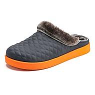お買い得  メンズスリッパ&ビーチサンダル-男性用 靴 PUレザー 冬 秋 フラフライニング コンフォートシューズ スリッパ&フリップ・フロップ のために カジュアル ブラック オレンジ グレー Brown
