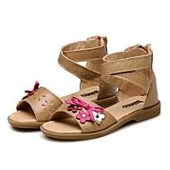 tanie Obuwie dziewczęce-Dla dziewczynek Buty Skóra Lato Comfort Sandały Tasiemka Kwiat na Casual Formalne spotkania Light Brown