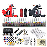 Starter Tattoo Kits-Tattoo Machine Starter Kit 2 cast iron machine liner & shader Mini power supply 2 x stainless steel grip 10 pcs Tattoo Needles