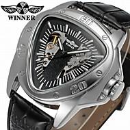 WINNER Homens relógio mecânico Único Criativo relógio Automático - da corda automáticamente Gravação Oca Couro Banda Casual Legal Preta