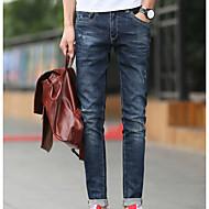 Masculino Simples Cintura Média Micro-Elástica Jeans Chinos Calças,Jeans Chinos Sólido