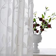 Propp Topp Dobbelt Plissert Blyant Plissert Window Treatment Moderne , Ensfarget Blomstret Geometrisk Stue Polyesterblanding Materiale