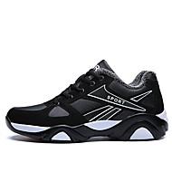 メンズ 靴 レザーレット 冬 秋 コンフォートシューズ スニーカー 用途 カジュアル ブラックとホワイト ブラック/レッド 黒 / 青