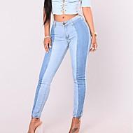 Feminino Simples Cintura Alta Micro-Elástica Jeans Calças,Jeans Estampa Colorida
