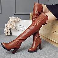 Feminino Sapatos Microfibra Outono Inverno Botas da Moda Botas Ponta Redonda Botas Acima do Joelho Pérolas Sintéticas Presilha Ziper Para