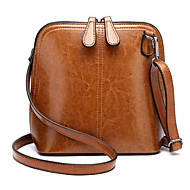 cheap Shoulder Bags-Women's Bags Cowhide Crossbody Bag Zipper Black / Blushing Pink / Brown
