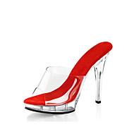 女性-ウェディング カジュアル パーティー-ポリ塩化ビニール-スティレットヒール プラットフォーム-プラットフォーム ベーシックサンダル クラブシューズ 靴を点灯-下駄とミュール-ブラック レッド ホワイト クリア