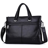 Men Bags Cowhide Briefcase Zipper for Outdoor Office & Career All Season Black