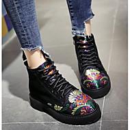 voordelige -Dames Schoenen Rubber Nubuck leder Herfst Winter Modieuze laarzen Legerlaarzen Laarzen Korte laarsjes/Enkellaarsjes Voor Causaal Zwart