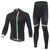 Biciklistička majica s tajicama Muškarci Dugih rukava Bicikl Kompleti odjeće Zima Odjeća za vožnju biciklom Quick dry Vjetronepropusnost
