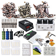 Starter Tattoo Kits 3 Cast Iron Machine Liner & Shaderr  LCD Power Supply Complete Kit No Ink