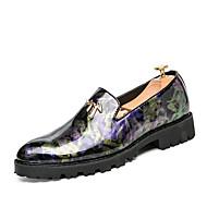 Hombre Zapatos PU Verano / Otoño Zapatos formales Zapatos de taco bajo y Slip-On Negro / Plata / Boda / Fiesta y Noche ry1QtF