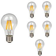 6pcs a60(a19)8w 760lmレトロLEDフィラメント電球e27クリアガラスシェルヴィンテージエジソンウォーム/クールホワイトac220-240v