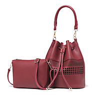 お買い得  バッグセット-女性用 バッグ PU バッグセット 2個の財布セット エンボス加工 / ラッフル のために 結婚式 / フォーマル アーミーグリーン / ワイン / カーキ色
