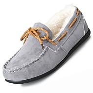 レディース 靴 ヌバックレザー 冬 コンフォートシューズ ボート用シューズ フラットヒール ラウンドトウ リボン のために カジュアル ブラック オレンジ グレー レッド ピンク