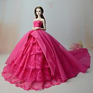 Vestidos Vestido Para Boneca Barbie Vermelho Rosa Vestido Para Menina de Boneca de Brinquedo