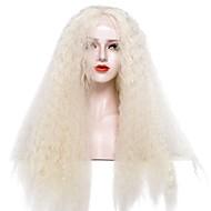 EEWigs 女性 人工毛ウィッグ フロントレース ロング丈 アフロ変態 ライトゴールデン ベイビーへア付き コスプレ用ウィッグ ナチュラルウィッグ パーティー用ウィッグ コスチュームウィッグ