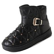 Damer Sko PU Vinter Militærstøvler Støvler Lave hæle Rund Tå Støvletter for Afslappet Sort Grå