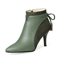 cheap -Women's Tassel Shoes PU(Polyurethane) Fall / Winter Fashion Boots Boots Stiletto Heel Pointed Toe Booties / Ankle Boots Bowknot / Ribbon Tie Black / Green / Almond / Party & Evening