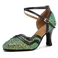 billige Moderne sko-Moderne Paljett Fuskelær Sandaler Høye hæler Sløyfer Kustomisert hæl Grønn/Svart Kan spesialtilpasses