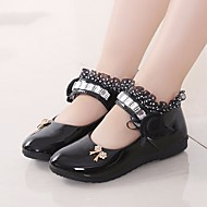 cheap Girls' Shoes-Girls' Shoes PU Spring Fall Flower Girl Shoes Flats for Casual White Black Peach Pink